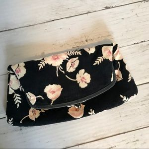Anthro Kiss Lock Floral Clutch with Silk Lining
